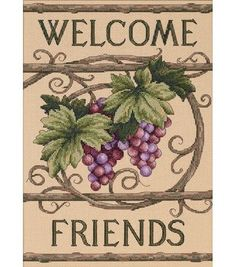 Dimensions Welcome Friends Counted Cross Stitch Kit, , hi-res