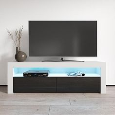 Milano Classic Modern 16 color 63-inch TV Stand | Overstock.com Shopping - The Best Deals on Entertainment Centers - Gray/Wavy Black Living Room Storage, Living Room Furniture, Storage Spaces, Modern Furniture, Small Room Design Bedroom, Room Ideas Bedroom, Led Tv Stand, Black Tv Stand, Entertainment Room