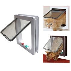 Biowow 4 Ways Locking Cat Door for interior doors Large Size 24X23.5X5.5cm Pet Flag Door Kit for Small Dogs White >>> Check out the image by visiting the link. (This is an affiliate link and I receive a commission for the sales)