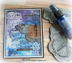 Kath's Blog......diary of the everyday life of a crafter: Simon Says - Heat Embossing Embossing Pen, Simon Says Stamp Blog, Mixed Media Cards, Butterfly Images, Distressed Texture, Stampers Anonymous, Ranger Ink, Distress Oxide Ink, Watercolor Cards