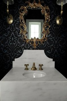 powder gold bathroom damask mirror dramatic antique wall beaded sconces brass lit decorpad luxurious mounted yet rococo side rooms living