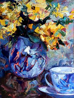 "Tea Time by cynthia rosen Oil ~ 12"" x 9"""