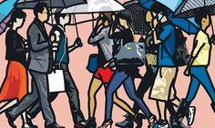 From Galerie de Bellefeuille, Julian Opie, Walking in the Rain, Seoul Serigraphie sur papier Somerset / Silkscreen on Somerset paper, 52 × 78 in Michael Craig, Art Postal, Art Calendar, Royal Academy Of Arts, Walking In The Rain, Nature Drawing, Collage, Mark Rothko, Gcse Art