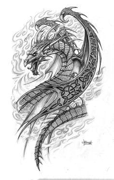 ᐇДраконы⚉, эскизы для тату. Каталог татуировок Драконы