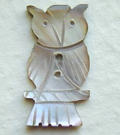 Vintage Pearl Button - Owl - Realistic Hand Carved Smokey Mother Of Pearl MOP Button