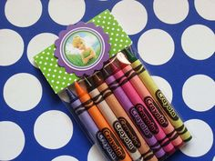 6 Disney Tinkerbell crayons party favor also available docmcstuffins/pinkalicious/cinderella/abby cadabby/Bubble guppies/lalaloopsy/Shopkins by bellecaps on Etsy
