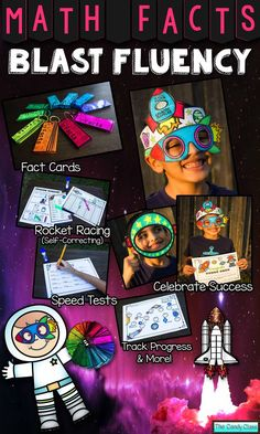 Motivate students to blast fluency with Math Facts Fluency Blast. Celebrate success with rocket glasses and rocket crowns. Soar the Math Facts Galaxy. Blast off with math fact cards. Rocket race with self-correcting cards. Zoom to success on the speed tests. Launch fluency with intervention. $