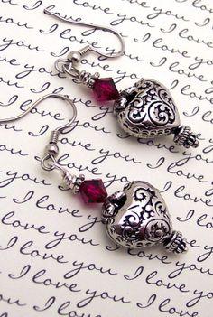 Queen of Hearts Swarovski Crystal Earrings by 116Roselaine, $25.00