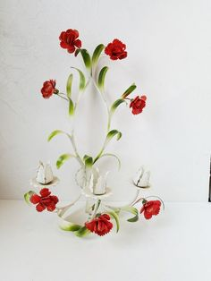 Antique Vintage Italian Tole Candle Sconce Red Green Flowers Floral #Italian