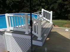 Popular Above Ground Pool Deck Ideas. This is just for you who has a Above Ground Pool in the house. Having a Above Ground Pool in a house is a great idea. Tag: a budget small yards Swimming Pool Decks, Above Ground Swimming Pools, My Pool, In Ground Pools, Lap Pools, Pool Fun, Above Ground Pool Stairs, Pool Steps, Backyard Pool Landscaping