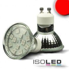 GU10 LED Strahler SMD12, 1,5 Watt, rot / LED24-LED Shop
