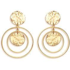 Gold Plated Earrings, Gold Hoop Earrings, Vintage Earrings, Vintage Jewelry, Drop Earrings, Coin Jewelry, Dainty Jewelry, Jewellery, Fashion Jewelry