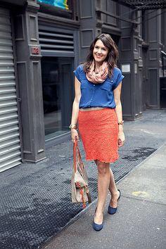 Kendi Everyday: Streets of New York Work Fashion, Fashion Looks, Fashion Outfits, Fashion Tips, Orange And Blue Combination, Blue Orange, Orange Skirt, Professional Wardrobe, New York Street
