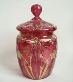 Antique Bohemian Moser Cranberry Enamel Glass Biscuit Jar Canister Lid Nouveau