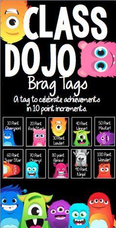 Tags to celebrate Class Dojo achievements!Brag Tags to celebrate Class Dojo achievements! Classroom Rewards, Classroom Behavior Management, 4th Grade Classroom, Behaviour Management, Classroom Organisation, Kindergarten Classroom, School Classroom, Class Dojo Rewards, Classroom Ideas