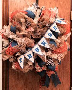 OKC Thunder Ribbon Wreath on Etsy, $65.00