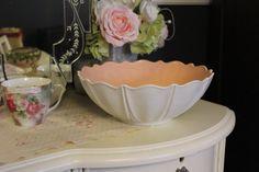 White Bowl with Pink Interior Anchor Hocking White by MadGirlRetro