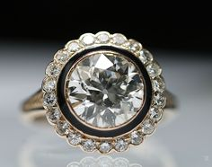 Rare Old Vintage Deco 2.57ct Diamond Rose Gold Enamel Solitaire Engagement Ring 1930's