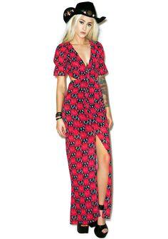 For Love & Lemons Clover Maxi Dress in Crimson