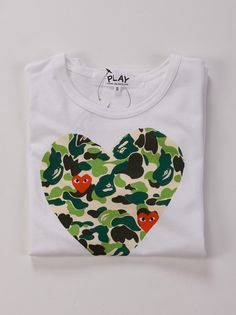 BAPE x Comme des Garcons CDG Play Camo Heart T-shirt | CHOCOLATEE CREW Clothing | The World