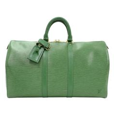 1990s Louis Vuitton Green Epi Leather Vintage Keepall 45 | From a collection of rare vintage luggage and travel bags at https://www.1stdibs.com/fashion/handbags-purses-bags/luggage-travel-bags/