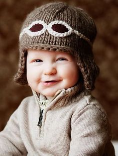 """New Knit Cap line at Therese Chateau """"Wilbur"""" Aviator Hat with Goggles Knitting For Kids, Knitting Projects, Baby Knitting, Beginner Knitting, Knitting Patterns, Crochet Patterns, Knit Crochet, Crochet Hats, Aviator Hat"""