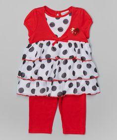 True Red Polka Dot Tunic & Leggings - Infant, Toddler & Girls