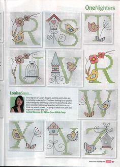 Birds and bird houses alphabet - free cross stitch patterns Cross Stitch Alphabet Patterns, Embroidery Alphabet, Cross Stitch Letters, Cross Stitch Love, Cross Stitch Samplers, Cross Stitch Animals, Cross Stitch Charts, Cross Stitch Designs, Cross Stitching