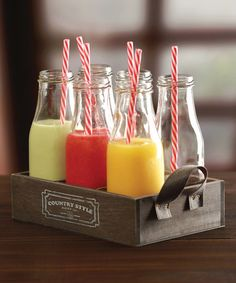 Look what I found on #zulily! Country Style 15-Oz. Milk Bottle & Straw - Set of Six #zulilyfinds