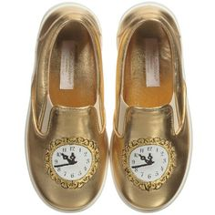 524ee3c5380 Dolce  amp  Gabbana - Girls Gold Leather Fairy Tale Clock Trainers