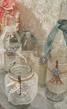 Vintage-Shabby Chic Table Decor- Set of 5 Vintage Glass Jars