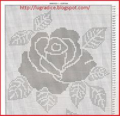 Photo Filet Crochet Charts, Crochet Cap, Crochet Diagram, Crochet Home, Crochet Motif, Crochet Doilies, Crochet Flowers, Crochet Stitches, Crochet Patterns