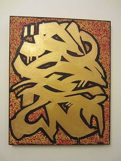 """Golden Graffiti Art by RESKEW MBK  Brooklyn NYC """" street art"""" wildstyle painting with acrylic and brushes"""