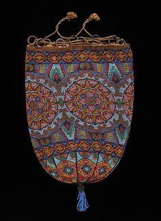 Glass Bead and Linen Evening Pouch, c 1920