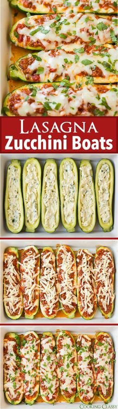 Lasagna Zucchini Boats - these are AMAZING!! Just as good as regular lasagna but…