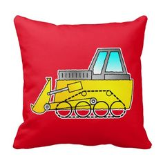 Yellow bulldozer graphic on a red cushion