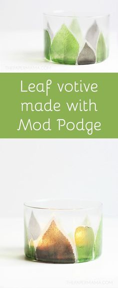 Leaves are beautiful and fun to decorate with, and that's why I made this Leaf Candle Holder. Use the free printable leaves (on tissue paper) and Mod Podge them onto the candle holder . . . so pretty with a candle glowing behind them.