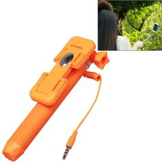 [$3.27] RK-Mini3 Multifunction Wire Controlled Selfie Stick Monopod Extendable Handheld Holder for IOS & Android Phone / GoPro Camera, Max Length: 70cm(Orange)