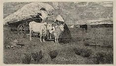 Artwork by Giovanni Fattori, Maremma: Bovi al carro, Made of Etching on gray chine collé