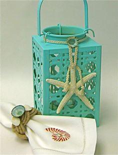 Beach Decor - Aqua Lantern with Starfish or Sand Dollar