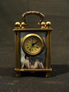 RARE 19th C. LIMOGES ENAMEL SUB-MINIATURE CARRIAGE CLOCK, OMEGA WORKS, NUDES