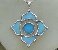 Sky Blue Glass Lotus Necklace by lightcurves on Etsy