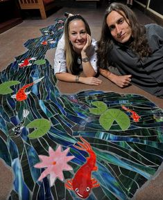 A mosaic and fused glass floor in a coffee shop - amazing!