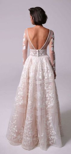 long lace sleeves two-piece full princess ball gown with a dramatic see-through Petticoat , long sleeves ball gown wedding dress : Michal Medina #weddingdress #weddingdresses