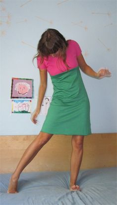 Pink and Green  Short Dress by TheButterfliesShop on Etsy, $55.00