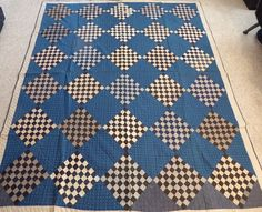 Late 1800s 64 patch quilt; indigos, blues, blacks, shirtings; exquisite quilting