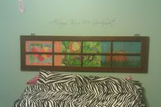 Old Window Headboard using kids art work