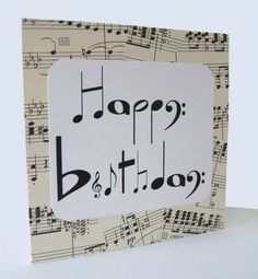 Musical Birthday Cards Elegant Chlef Musical Notes Birthday Card by Say It Folksy Handmade Birthday Cards, Happy Birthday Cards, Diy Birthday, Birthday Images, Happy Birthday Music Notes, Birthday Design, Card Birthday, Birthday Greetings, Musical Birthday Cards