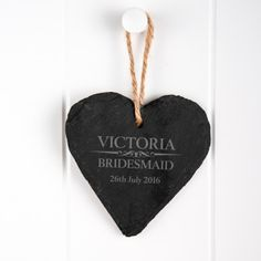 Heritage Wedding Engraved Heart Slate Keepsake