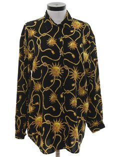 6954e50a9b4a28 1990's Shirt (Gap Warehouse): 90s -Gap Warehouse- Womens black background  rayon button cuff longsleeve button up front shirt with abstract gold sun  faces ...